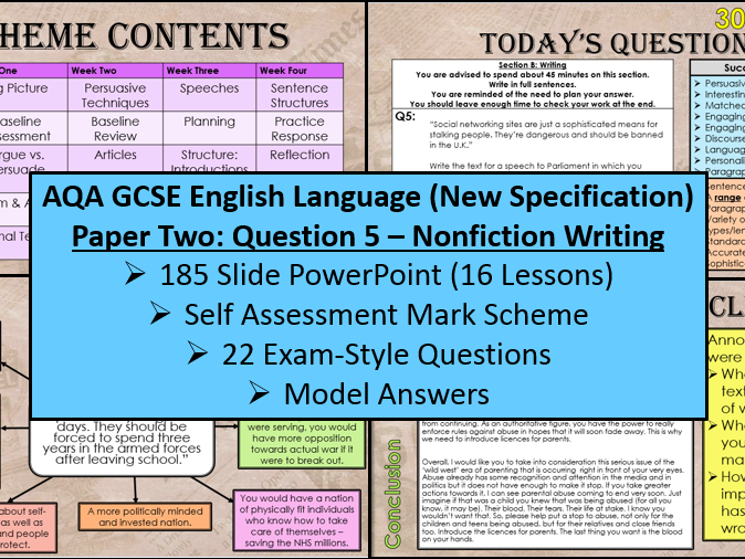 English Language: Paper Two - Question 5 Scheme Of Work (AQA, 9-1 GCSE)