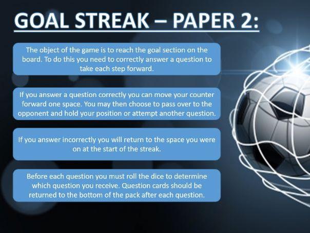 """GCSE PE - Edexcel - """"Goal Streak - Paper 2"""""""