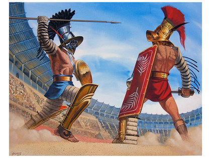 Roman Gladiators battle - Descriptive writing with templates, pictures and differentiation KS2
