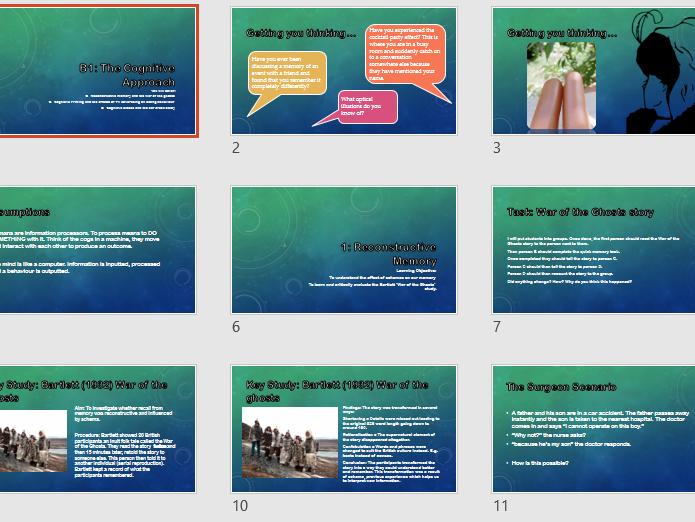 BTEC Psychology Cognitive Approach Lessons + Booklet