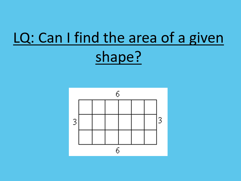 Introduction to area of a rectangle- practical and fun!