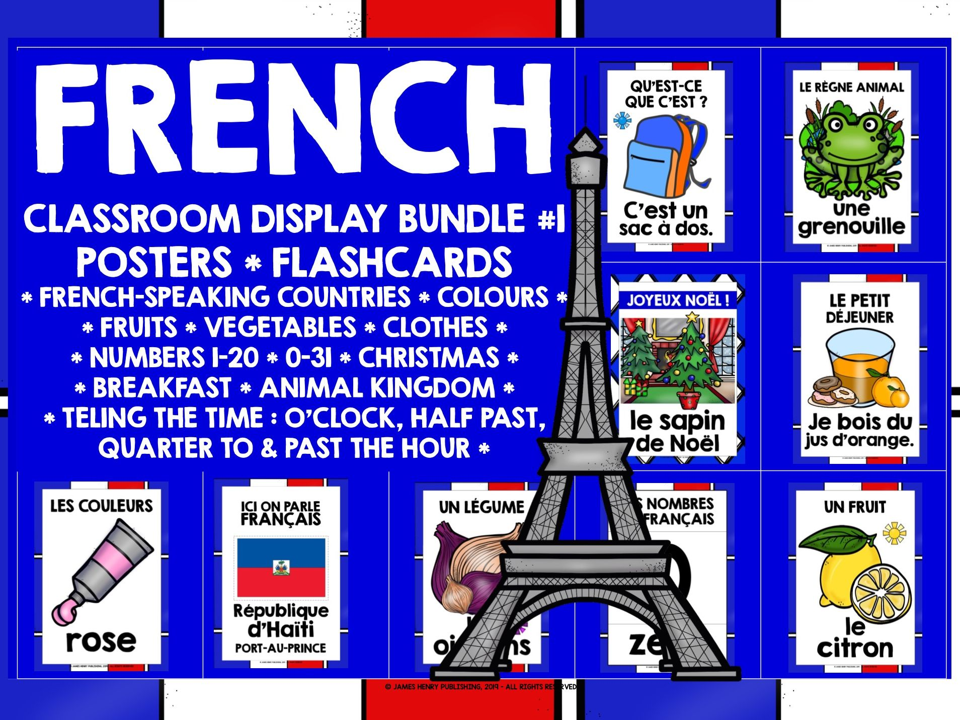 PRIMARY FRENCH POSTERS FLASHCARDS BUNDLE #1