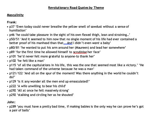 Revolutionary Road book quotes by Theme - AQA A level English