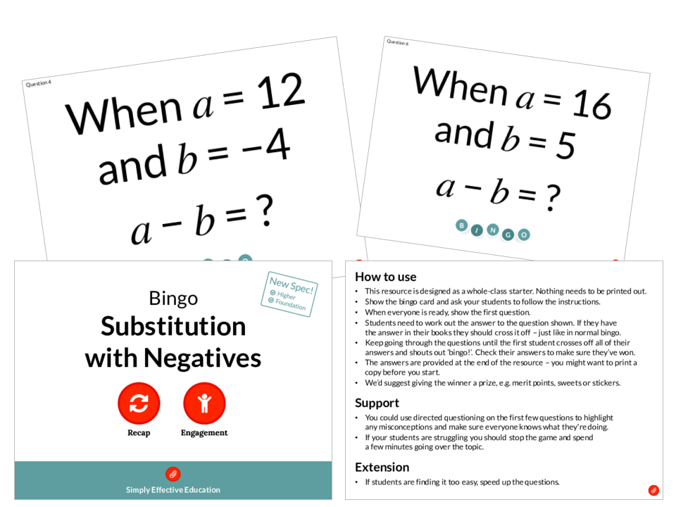 Substitution with Negatives (Bingo)