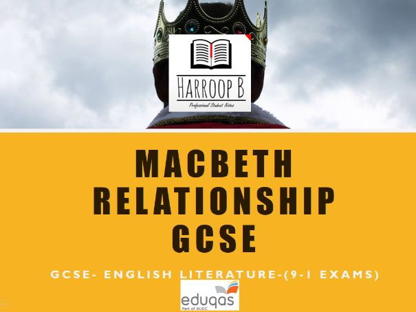 GCSE Eduqas Relationship  Macbeth & Lady Macbeth Revision Notes (Grade 9)