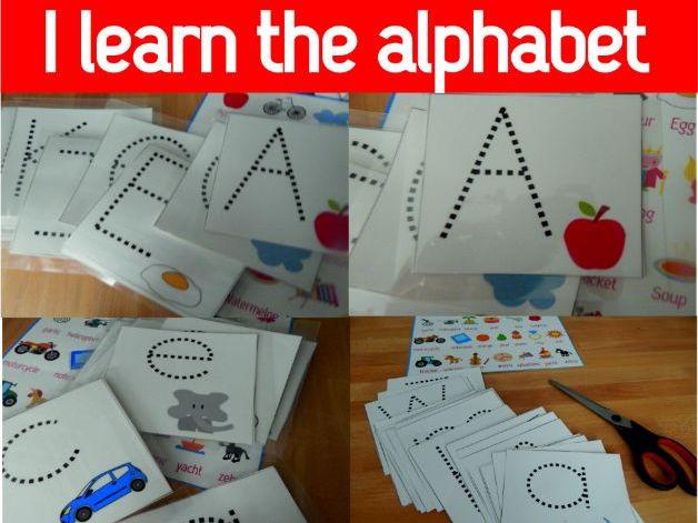 My writing mats, I learn the alphabet