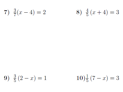 Linear equations with brackets and fractions worksheet (with solutions)