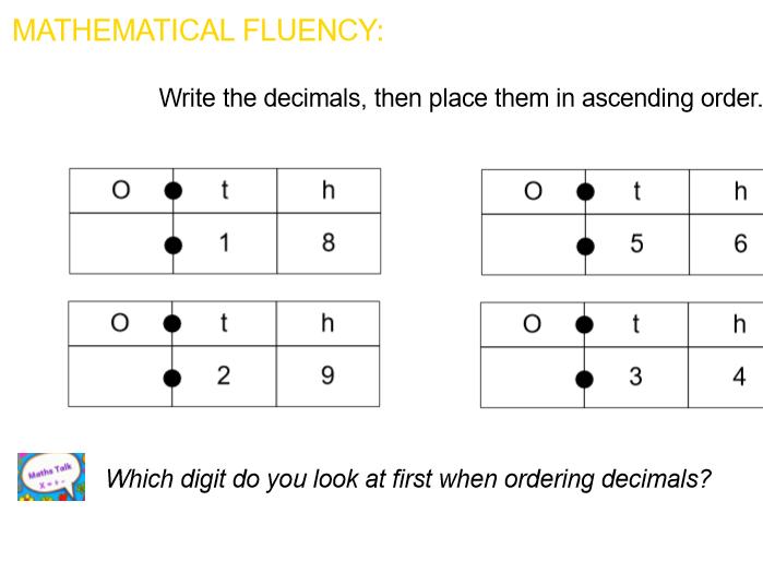 Summer: Y4 Block 1 Decimals Notebook & PDF Files following ORDER of WRM