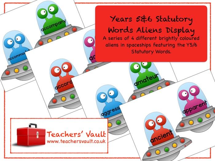 Years 5 & 6 Statutory Words Aliens Display