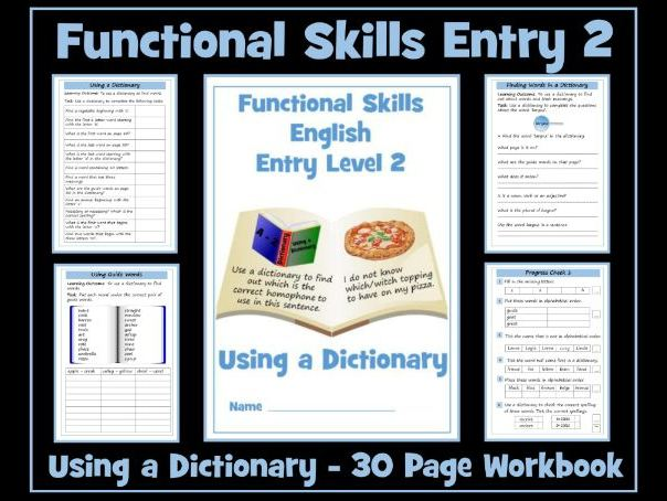 English Functional Skills Entry Level 2 Reading - Using a Dictionary