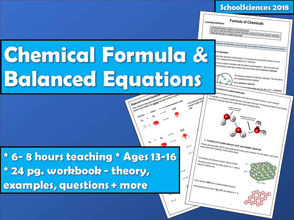 Chemical Formula and Equations - Pupil Workbook + PPT