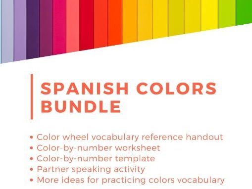 Learn Colors in Spanish: Downloadable Activity Bundle ~ Worksheets ~ Speaking Activity ~ More