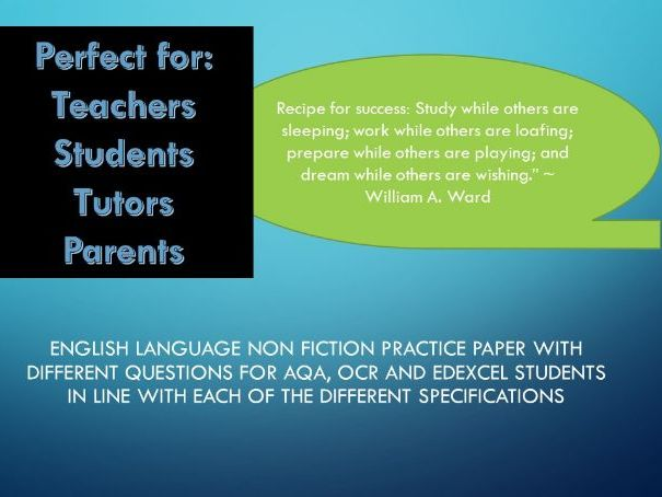Revision: Practice English Language Paper AQA, OCR and EDEXCEL style questions on non fiction