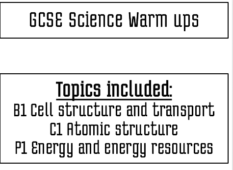 Biology, Chemistry, Physics 1 starter tasks