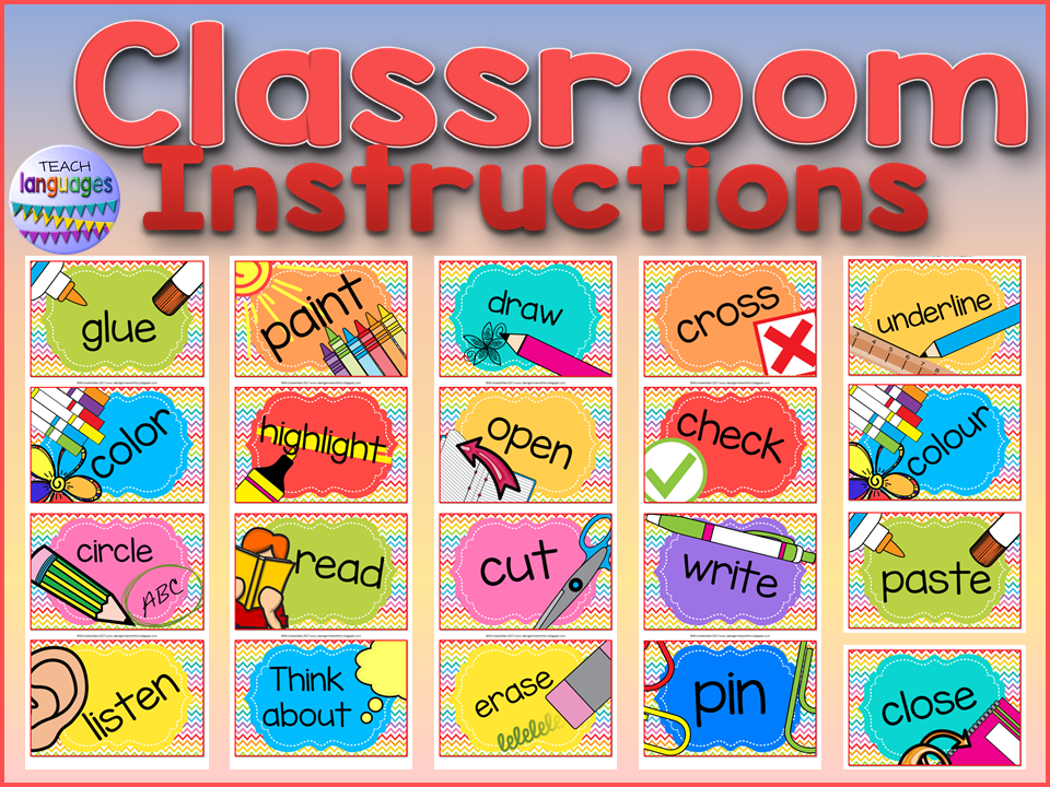 Classroom instruction posters or cards