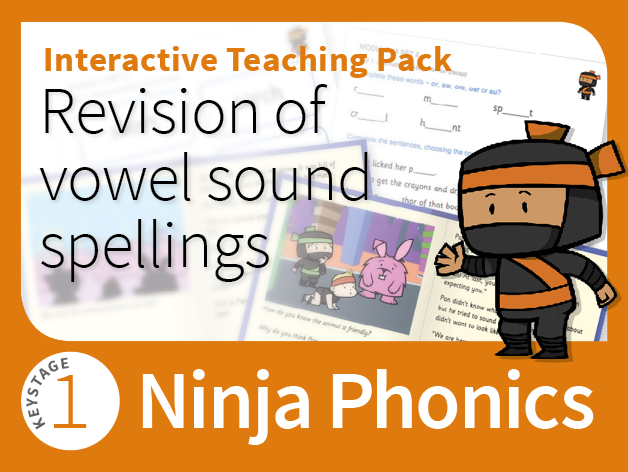 Ninja Phonics 14 - Interactive Teaching Pack - Revision of vowel sound spellings