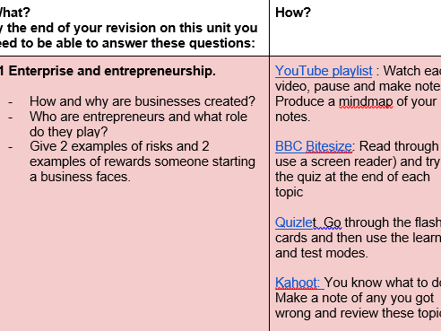 Theme 1 revision planner