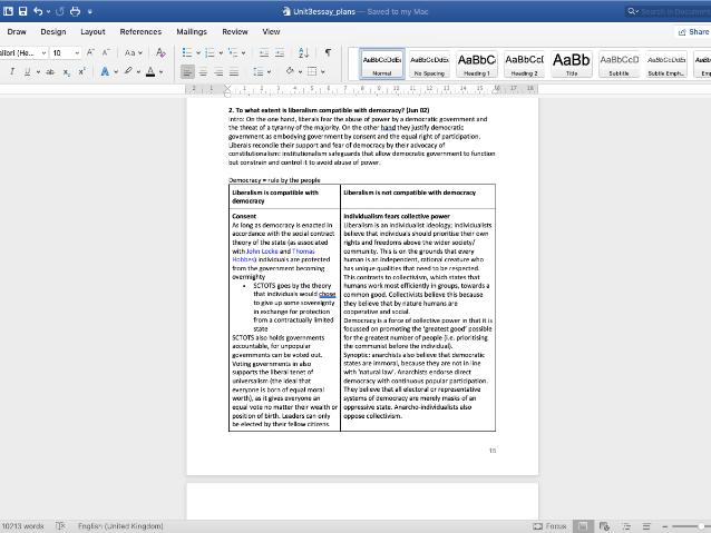 A2 Gov & Politics: Concepts Essay Plans