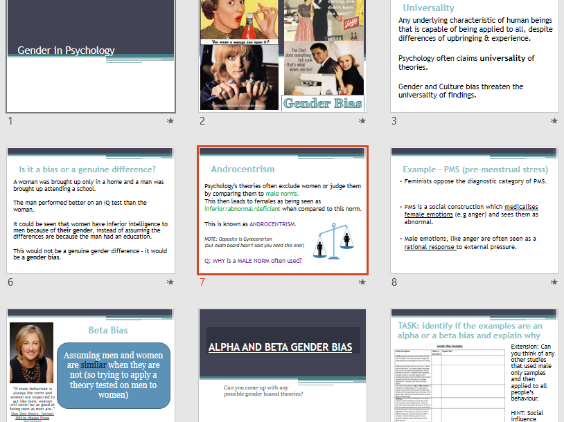 GENDER BIAS - Aqa Psychology - Issues and Debates - Full Lesson, Activities & Sample Essay