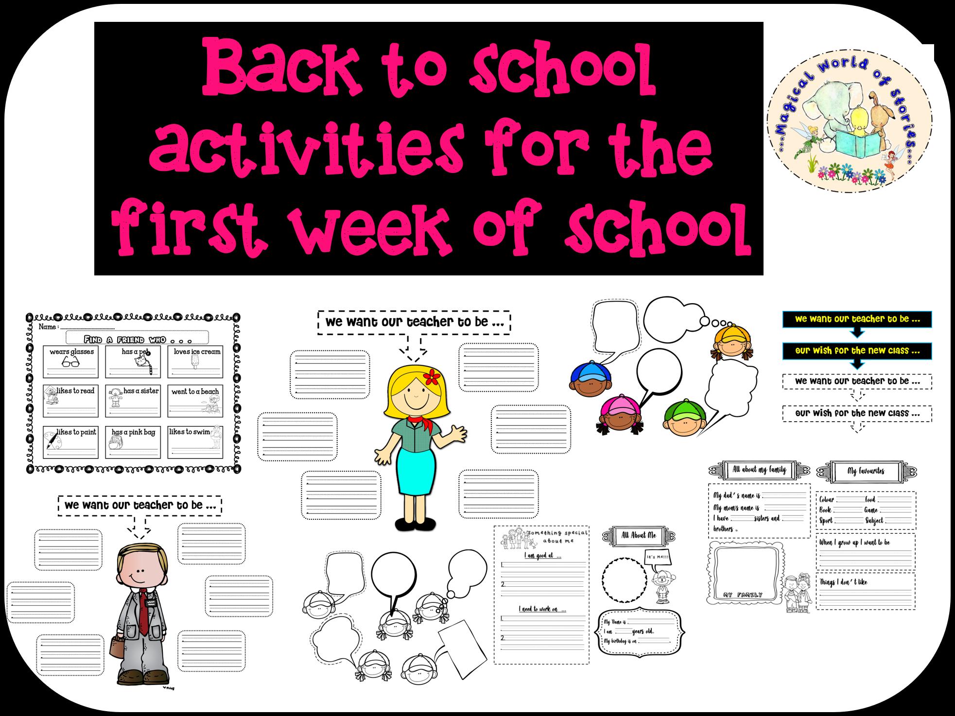 Back to School - Classroom set up & First Week activities