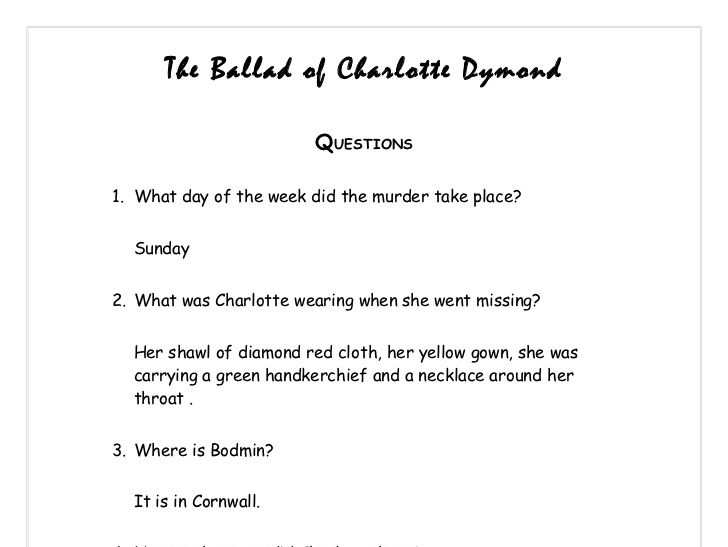 The Ballad of Charlotte Dymond - Charles Causley - Narrative Poetry - 4 lessons