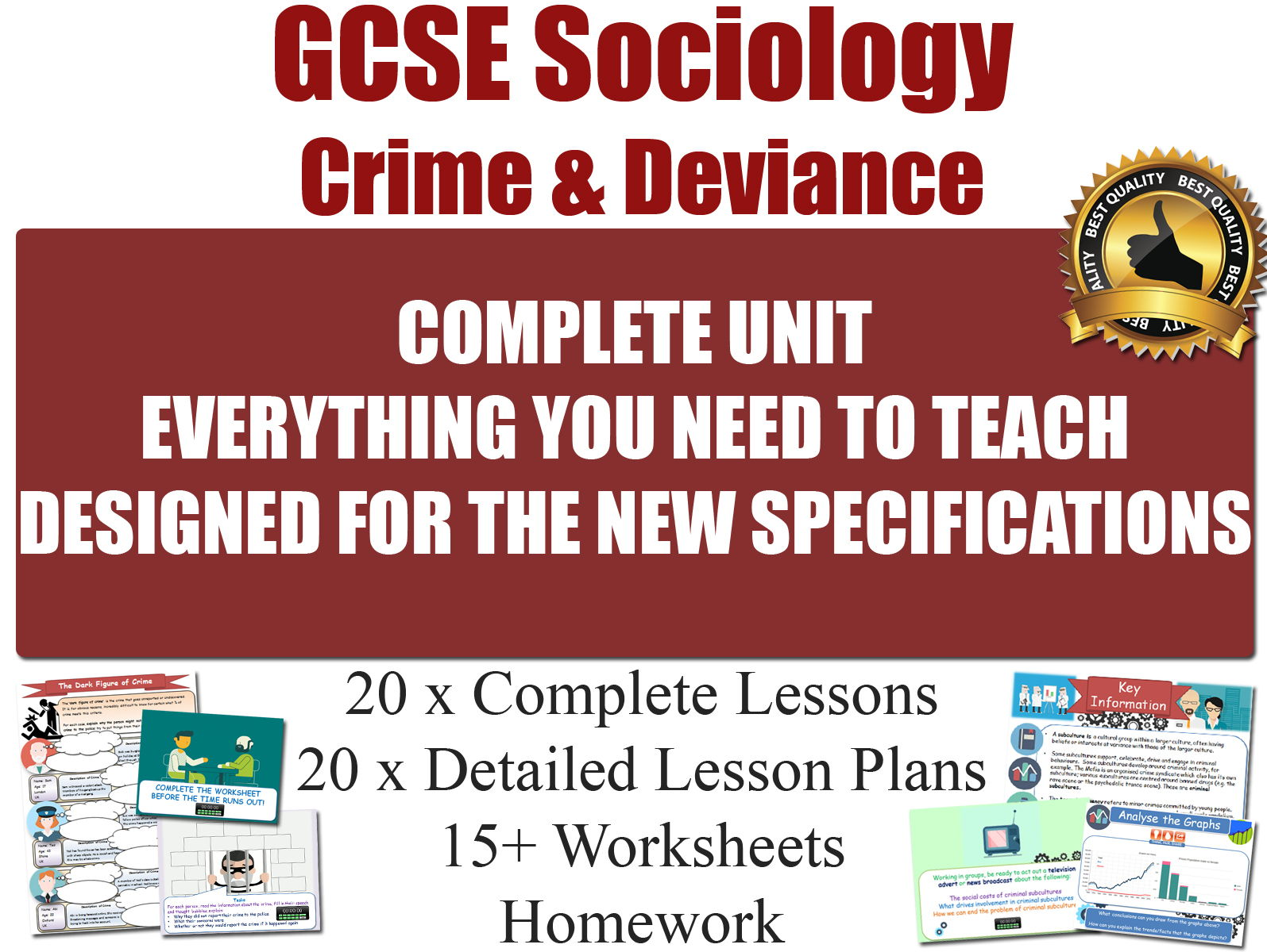 Crime & Deviance (20 x Lessons, Complete Unit) [ GCSE Sociology ] (Full Resources for the Entire Section of the Course) [HIGH QUALITY]