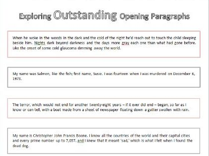Exploring Outstanding Opening Paragraphs