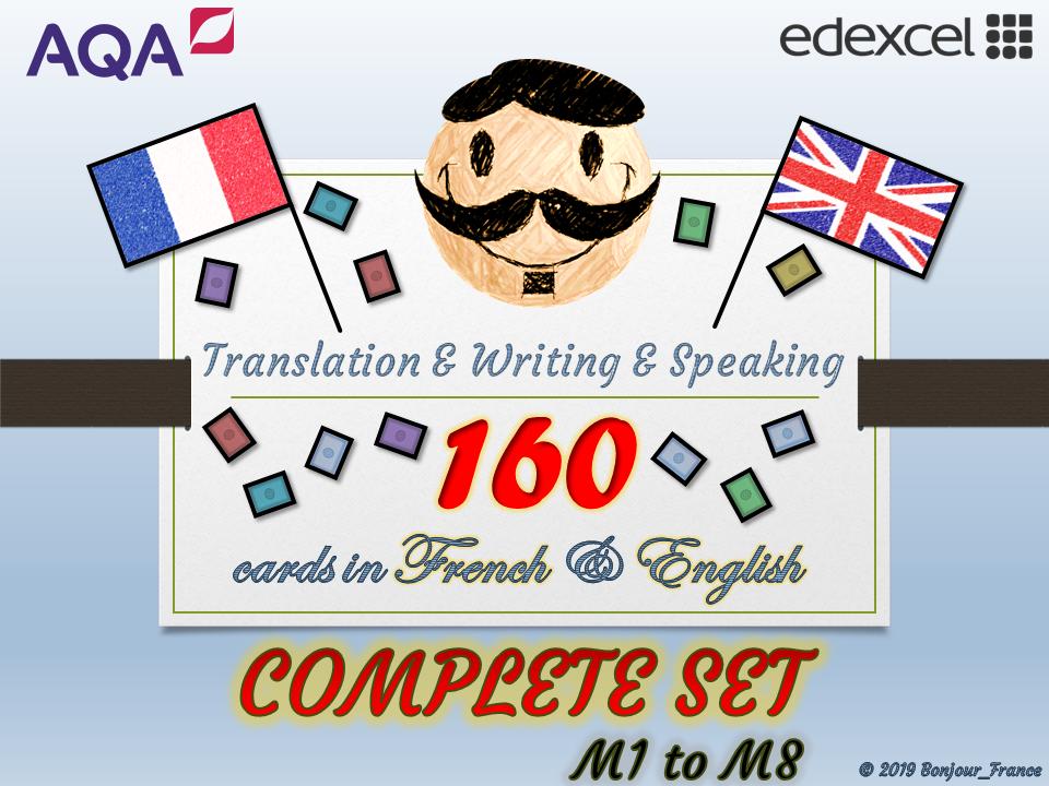 BUNDLE M1 to M8 GCSE French - Q&A / Translation Card Sets
