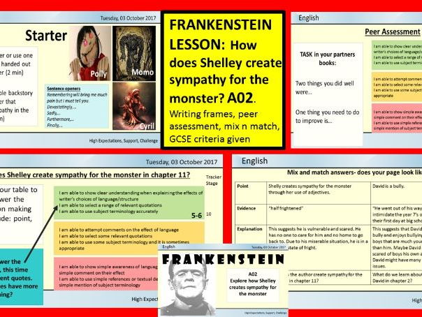 FRANKENSTEIN DOUBLE LESSON: EXPLORING HOW SHELLEY CREATES SYMPATHY FOR MONSTER A02, using PEE,