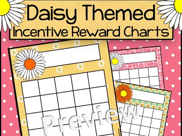 Daisy Themed Incentive Reward Sticker Charts