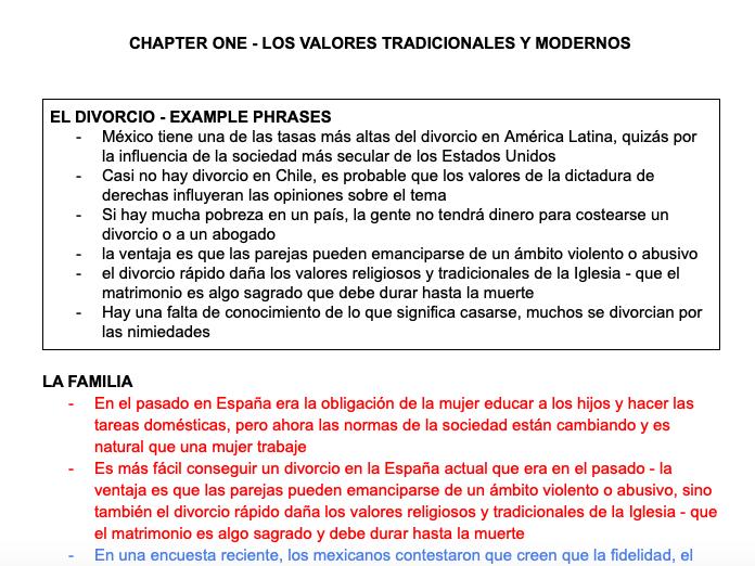 LOS VALORES TRADICIONALES Y MODERNOS FACT SHEET - A LEVEL SPANISH AQA