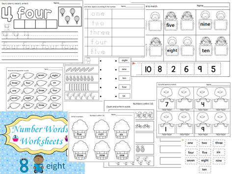 Number Words Worksheets (1-10)