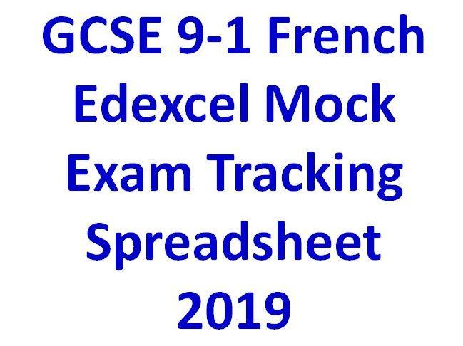 GCSE 9-1 French Edexcel Mock Exam Tracking Spreadsheet  2019