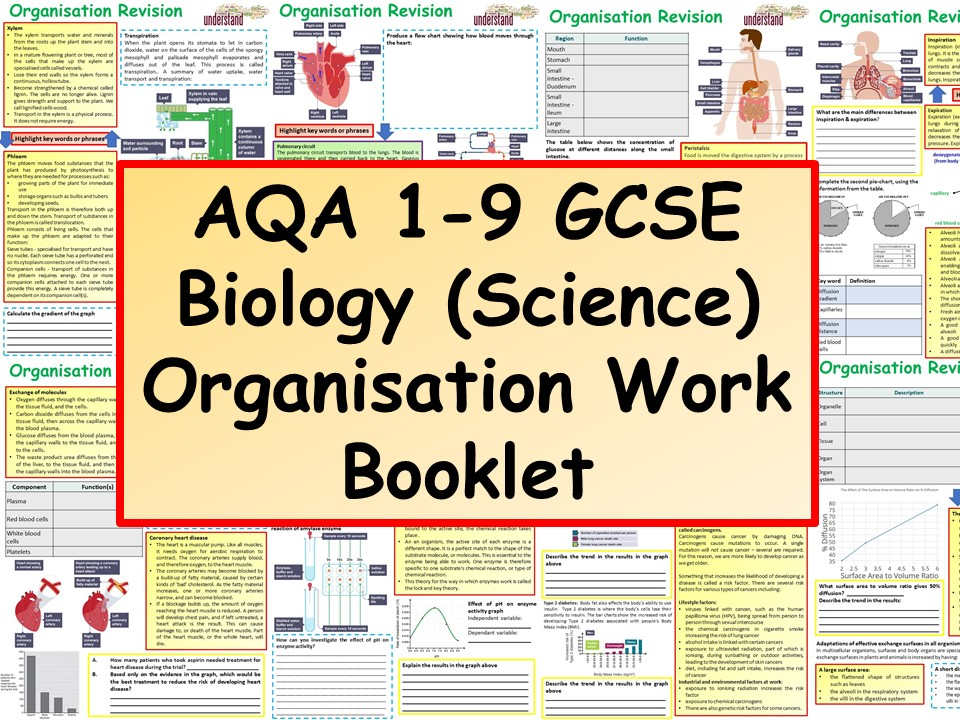 AQA 1-9 GCSE Biology (Science) Biological Organisation Work Booklet