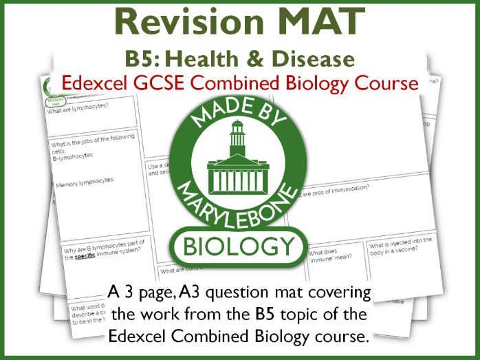 Revision Mat - Health and Desease - Topic B5 Edexcel GCSE 9-1 Combined Biology