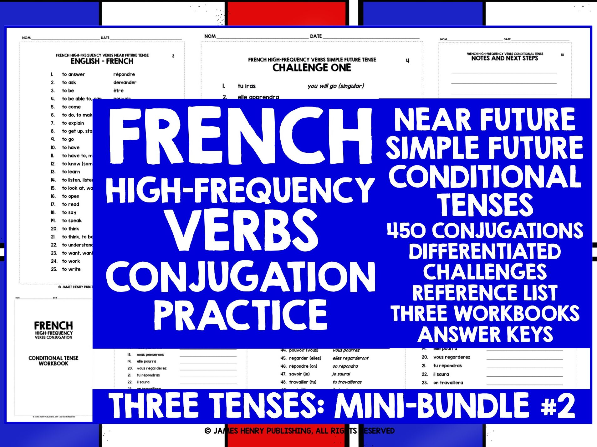 FRENCH HIGH-FREQUENCY VERBS CONJUGATION MINI-BUNDLE 2