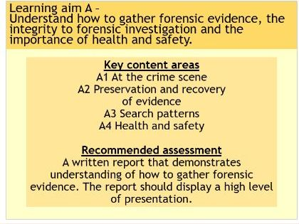 Btec  Applied Sci U23 - Aim A - Forensic evidence, collection and analysis