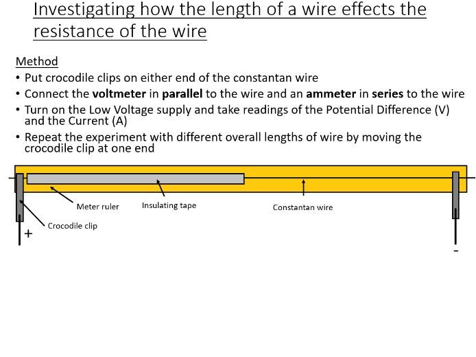 GCSE Science / Physics / (AQA P2) Potential Difference, Resistance of a wire (Lesson and PowerPoint)