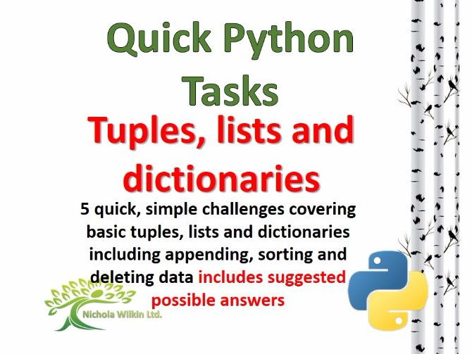 Tuples, Lists and Dictionaries (Quick Python Programming Challenges)