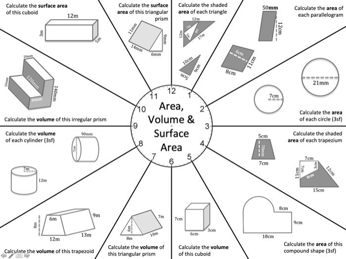 Beat The Clock: Basic Area, Volume, and Surface Area - with solutions