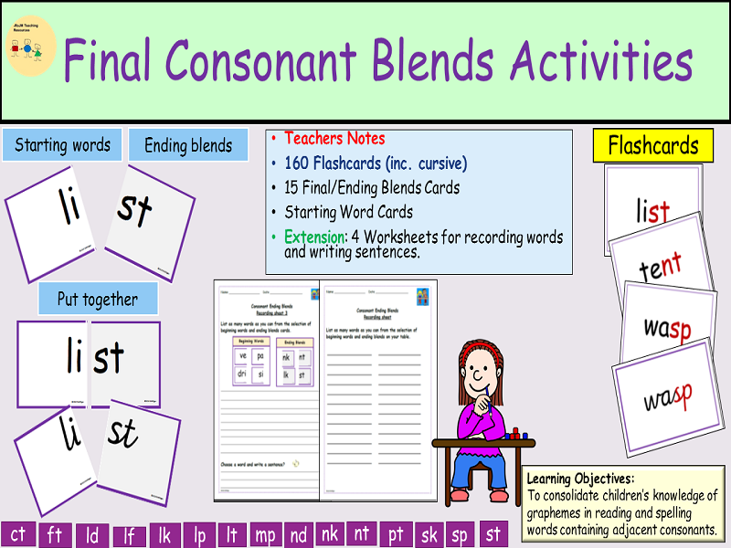 Phonics-Consonant Endings/Cluster Activities Flash cards, Worksheets, Game, Teachers Notes