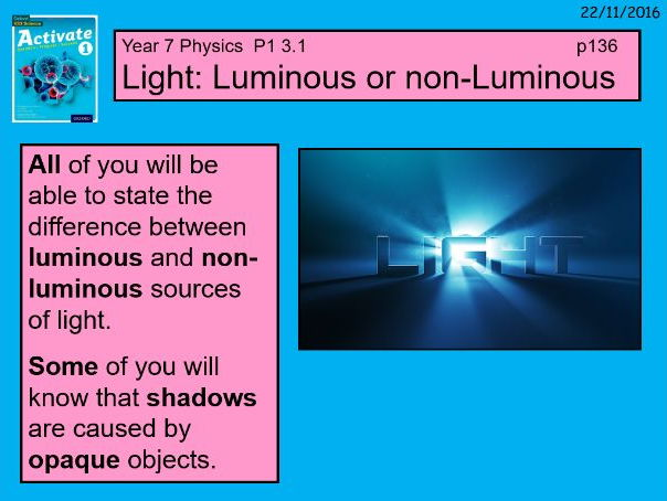 """A digital version of the P1 3.1 """"light"""" lesson in the Year 7 Science Activate book 1."""