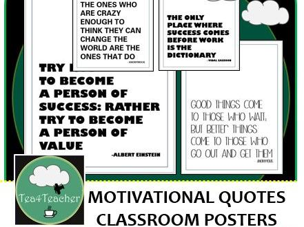 Motivational Quote Posters Black&White x50 - Great Range of Motivational Thoughts for Any Classroom