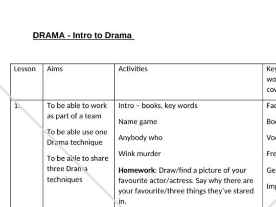 KS3 Intro to Drama SOW 9 Lessons