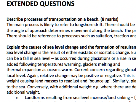 Exam Questions for Coastal Landscape and Change- Geography AS/A Level