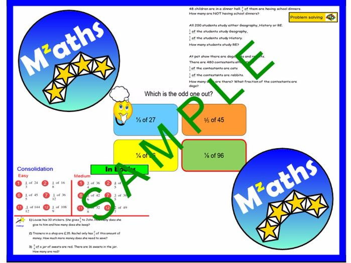 Fractions of Amounts - Problem Solving/Revision