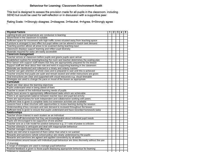 Classroom Teaching & Learning Enviromental Audit