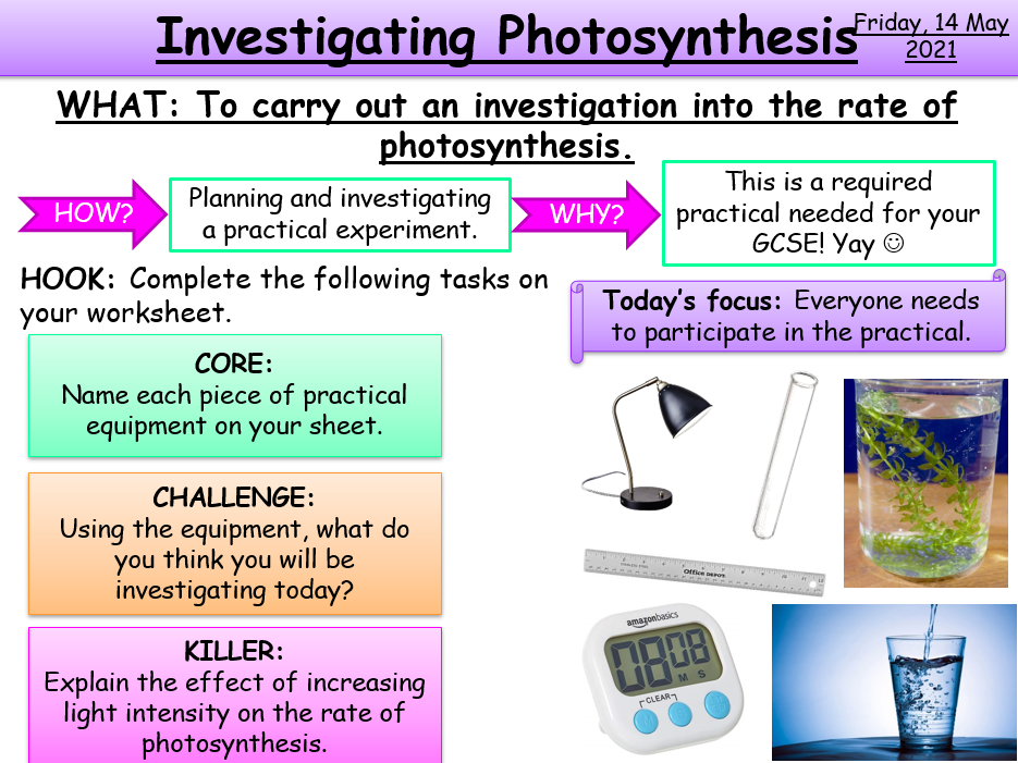 Photosynthesis Required Practical KS4 AQA Biology