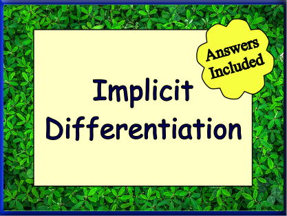 Implicit Differentiation Worksheet + Answers
