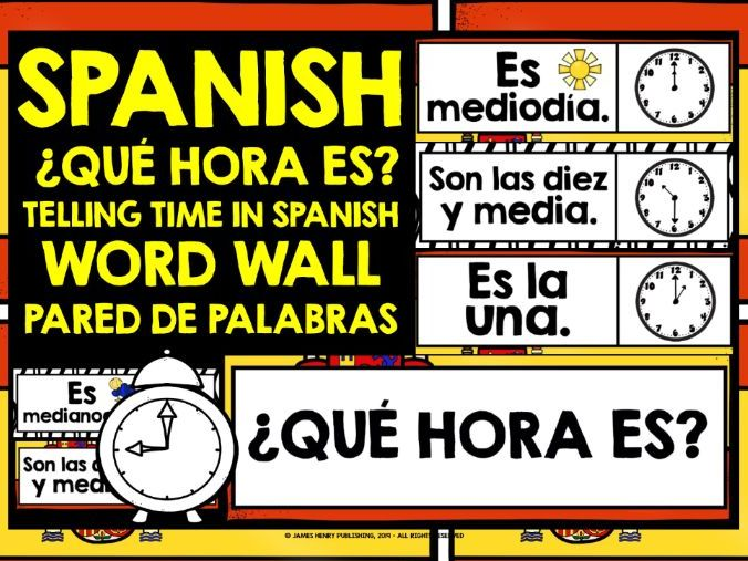 PRIMARY SPANISH TELLING THE TIME WORD WALL O'CLOCK & HALF PAST